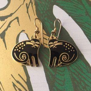 "Laurel Burch Black ""Keshire Cat"" Enamel Earrings"